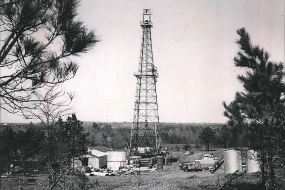 Typical Well Drilling Scene of Humble Oil & Refining Company