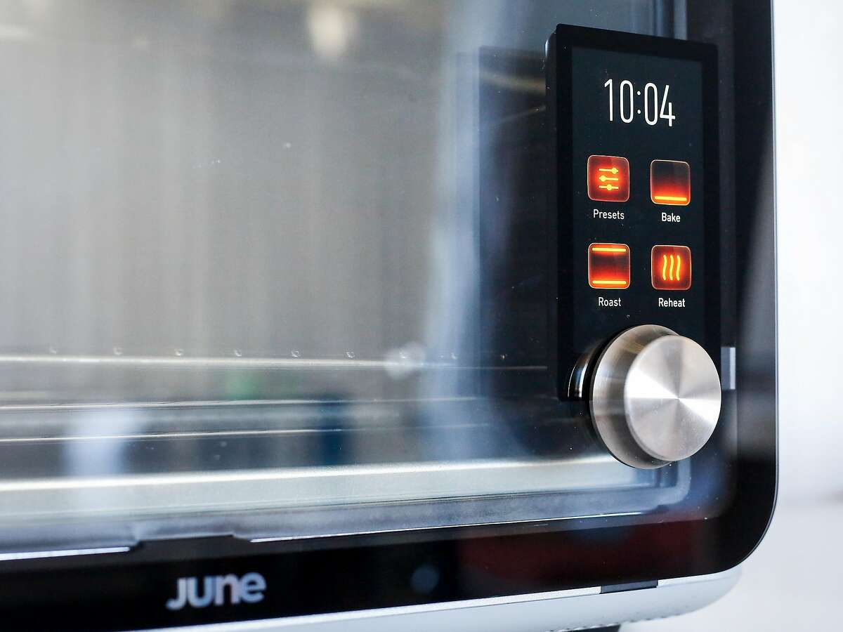 The June Intelligent Oven, which detects what food is placed into it and how long it should be cooked, sits in the June studio in San Francisco on Thursday, July 6, 207.