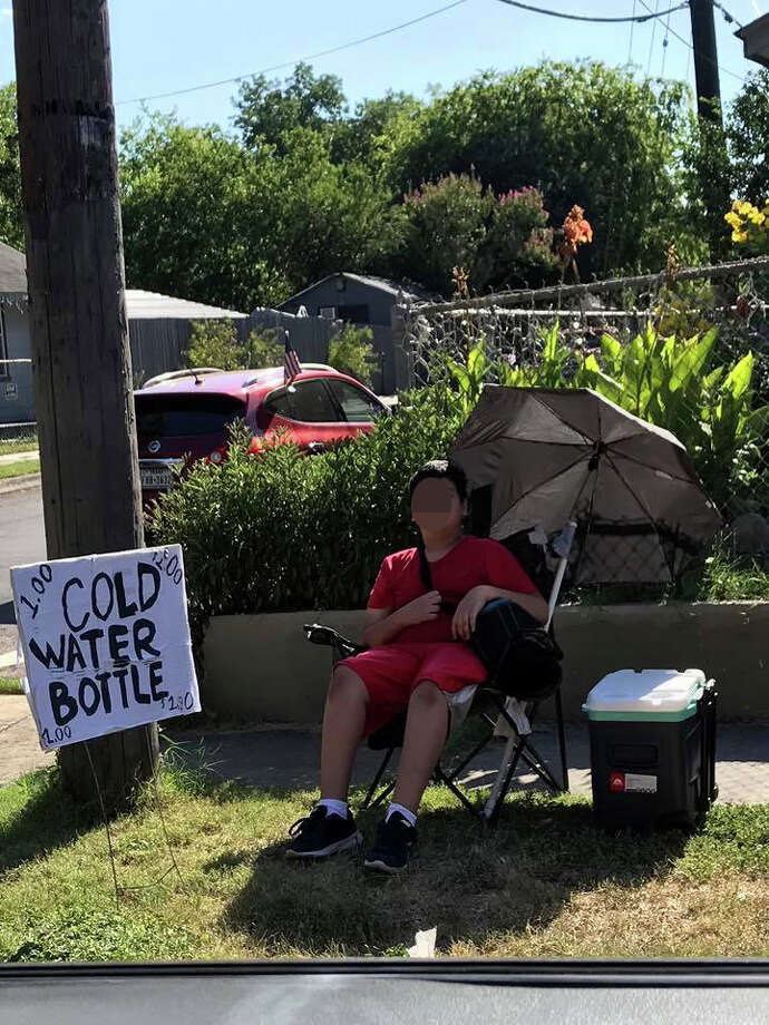 Jazel is the name of the boy thousands of San Antonians are rallying around on social media after he became the subject of a viral Facebook post which shows him working his one-man summertime business -- sitting beneath an umbrella on a sidewalk with an ice chest by his side.
