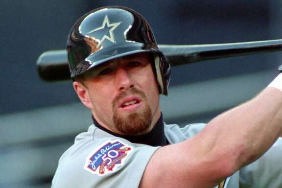 PITTSBURGH - 1997:  First baseman Jeff Bagwell of the Houston Astros takes a practice swing before batting against the Pittsburgh Pirates during a Major League Baseball game at Three Rivers Stadium in 1997 in Pittsburgh, Pennsylvania.  (Photo by George Gojkovich/Getty Images)