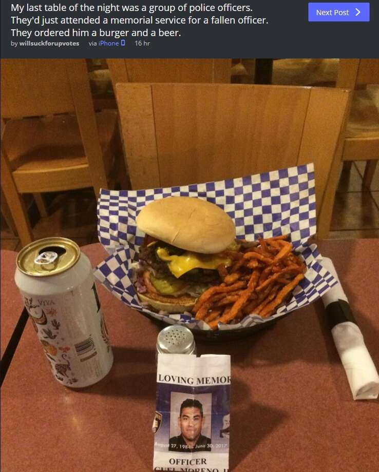 A burger and a can a beer remained untouched Thursday night after a memorial service for SAPD Officer Miguel Moreno, who was killed in the line of duty last week, according to a post by an area Imgur user.
