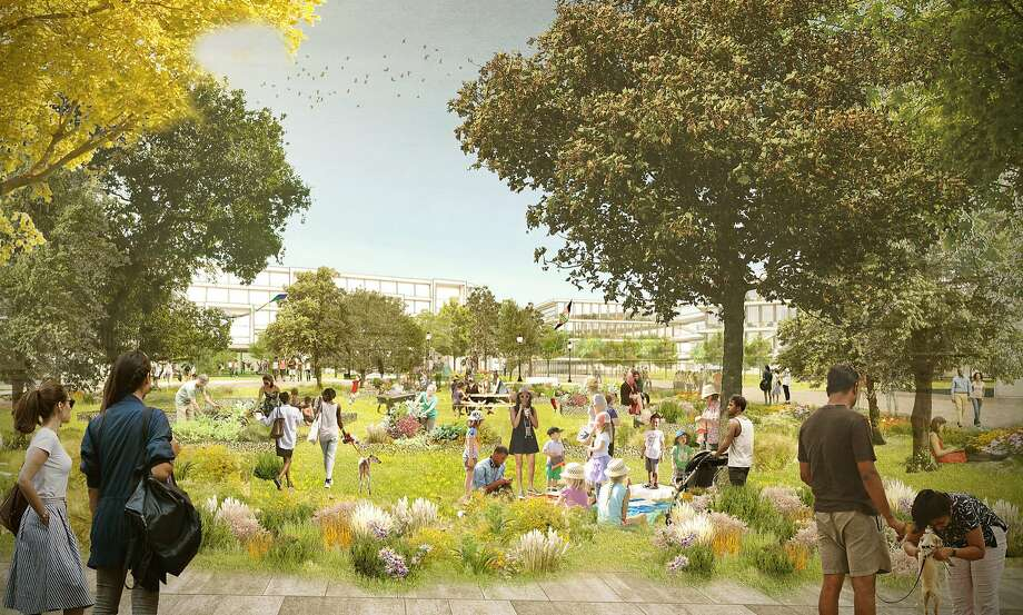 Facebook plans to build new homes, a grocery store, a transit center, a hotel, retail shops, office buildings and open park space at its Willow Campus in Menlo Park. Photo: OMA New York