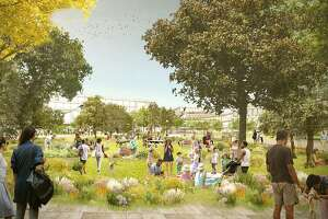 A rendering shows a proposal for Facebook's new Willow Campus, which would include housing and retail.