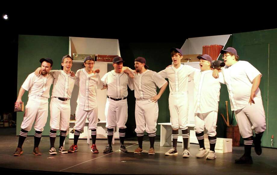 """""""Damn Yankees"""" is on stage at The Brookfield Theatre for the Arts, Friday, July 14, through Sunday, Aug. 6. Singing the tune, """"Heart,"""" from left, are Ian Arbues, Paul Landman, Jeff Owens, Ted Schwartz, Eli Patton, Tim Vlangas, Tony Benedetti and Andrew Olson. Photo: Lou Okell / Contributed Photo"""