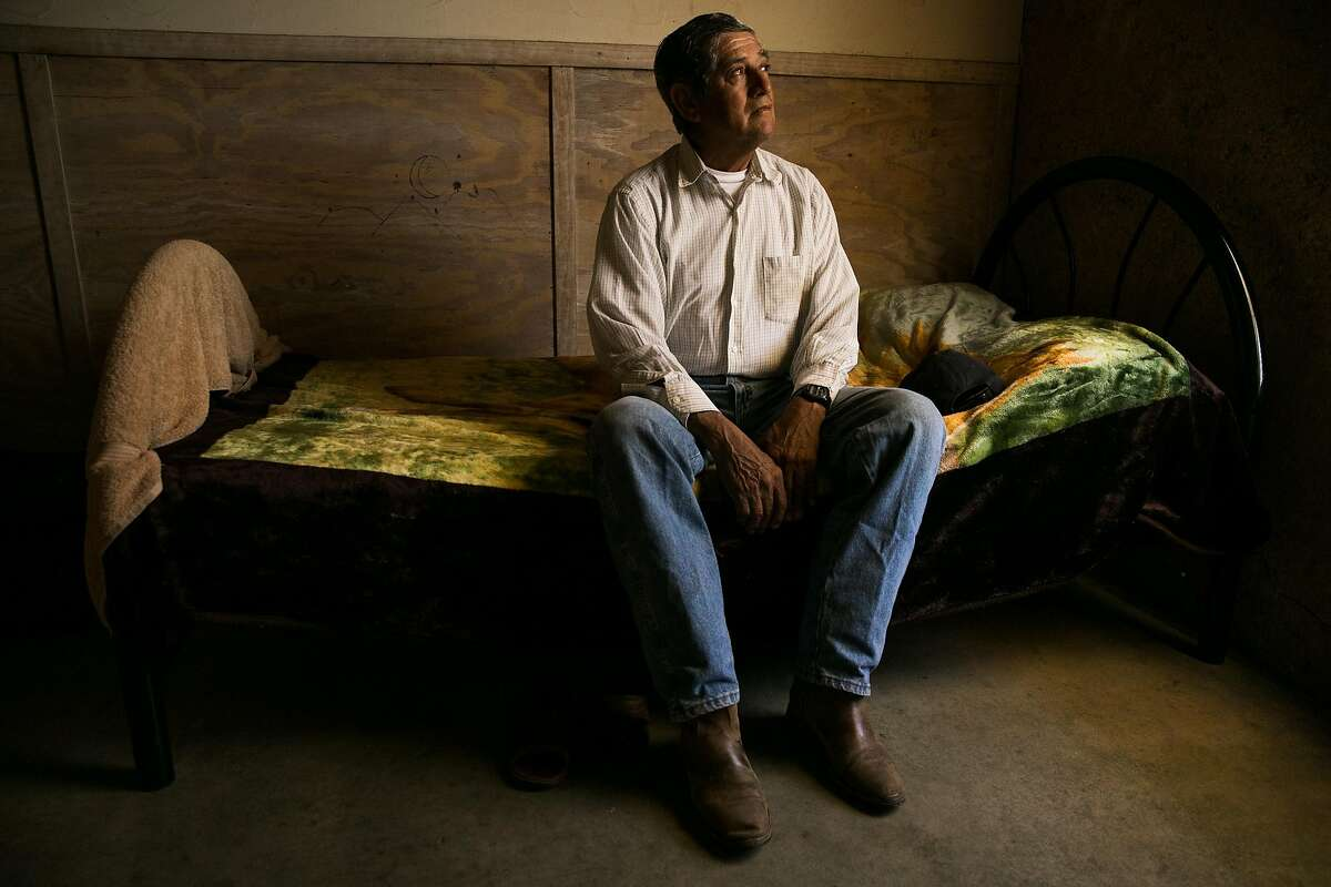 Gorgonlo Gomez Figueroa photographed in his room at the River Ranch Farm Workers Housing in St. Helena, Calif. on Thursday, July 6, 2017.