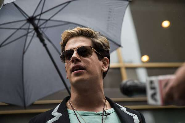 NEW YORK, NY - JULY 7: Milo Yiannopoulos speaks outside the offices of Simon & Schuster publishing company, July 7, 2017 in New York City. Yiannopoulos is promoting a new book and filing a $10 million legal complaint against Simon & Schuster following the publisher's decision to cancel his book deal. (Photo by Drew Angerer/Getty Images)