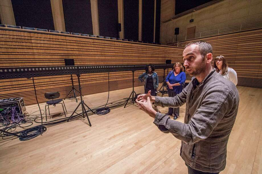 Argeo Ascani, EMPAC curator discusses wave field synthesis for the audience gathered for a demonstration of this audio technology at the EMPAC at the Rensselaer Polytechnic Institute Friday July 7, 2017 in Troy, N.Y.  (Skip Dickstein/Times Union) Photo: SKIP DICKSTEIN, Albany Times Union / 20040913A