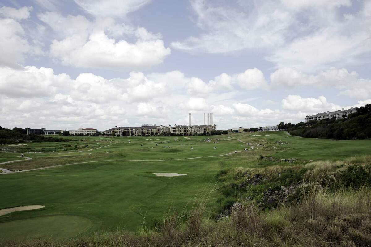 Golfers fill the fairway at the Quarry Golf Club as the Greater San Antonio Men's Championship kicked off round 1, Saturday, July 7, 2017.
