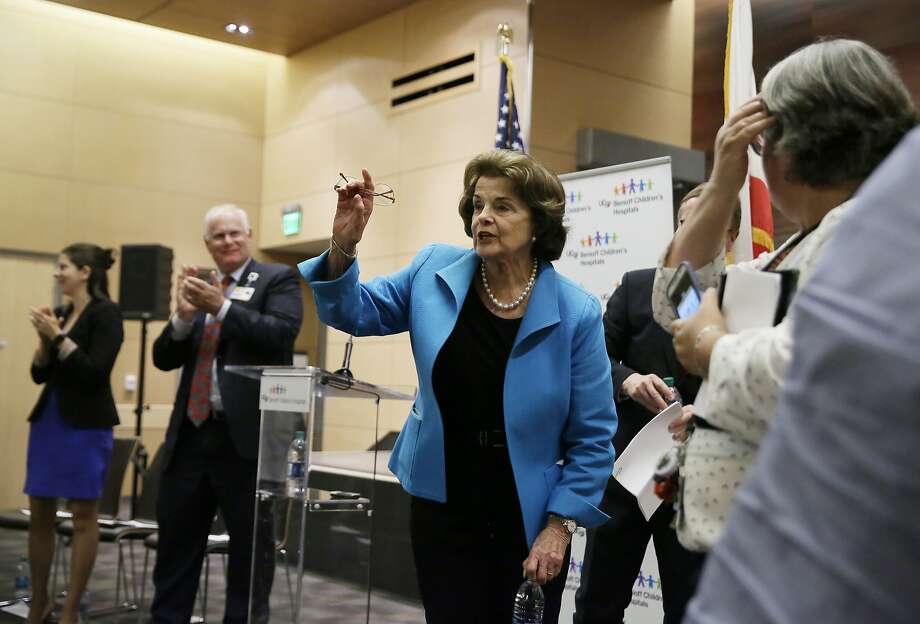 Sen. Dianne Feinstein voices objections to Republicans' health care legislation at UCSF Benioff Children's Hospital in S.F. Photo: Eric Risberg, Associated Press