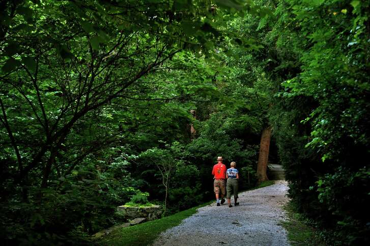 The Sunrise Carriage Trail gently zigzags up more than a half-mile and climbs 180 feet to offer a view of the city.