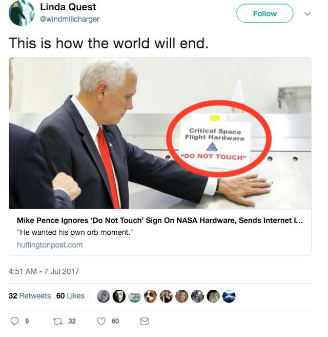 Twitter Reacts To Mike Pence Disobeying Nasa Capsule S Do Not Touch Sign Sfchronicle Com