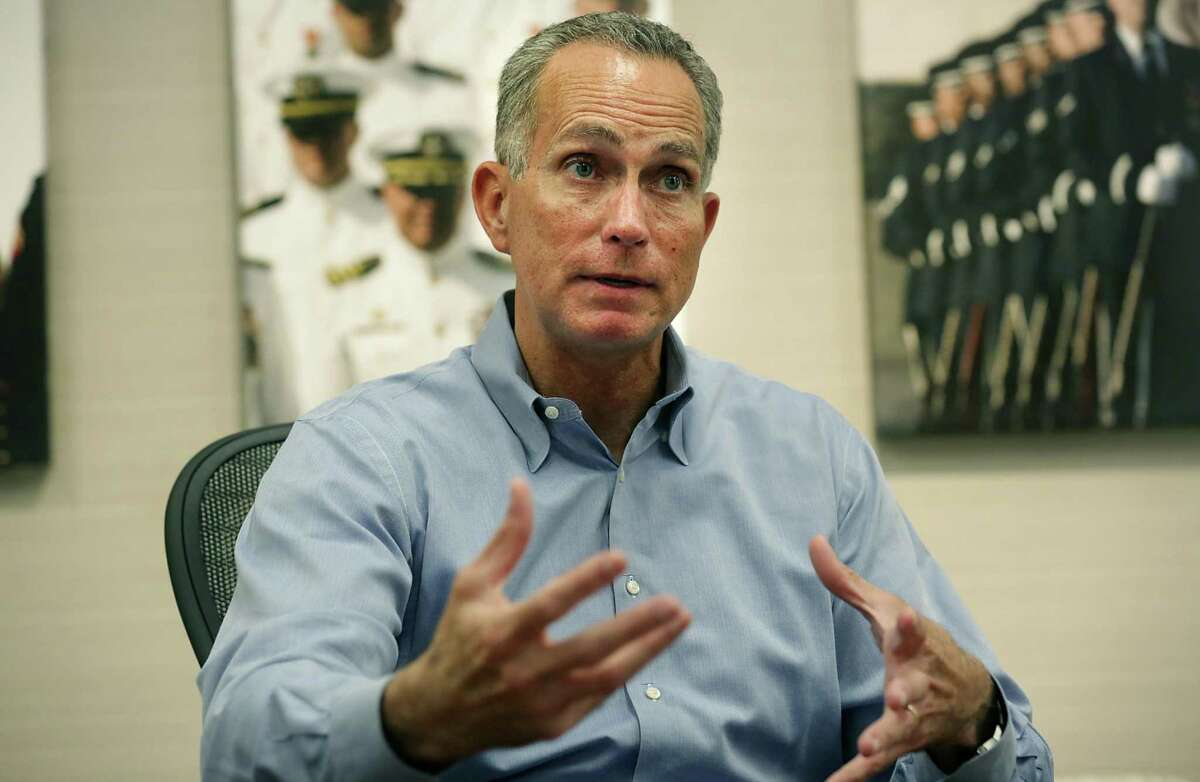 Stuart Parker retired as USAA's CEO in January after nearly five years in the post. He received nearly $4 million in bonuses from five USAA insurance companies last year. He is pictured in 2017.