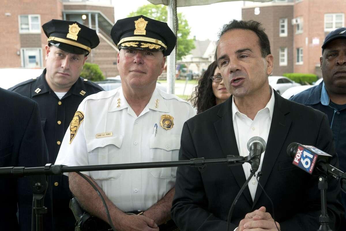 Mayor Joe Ganim, seen here with Police Chief Armando ?