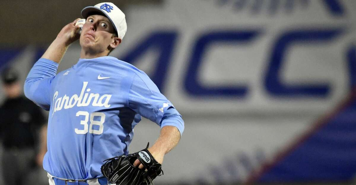 North Carolina pitcher J.B. Bukauskas (38) throws against North Carolina State during the Atlantic Coast Conference baseball tournament in Louisville, Ky., Friday, May. 26, 2017. (Timothy D. Easley/theACC.com via AP)