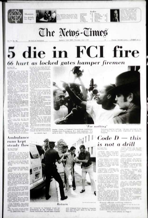 The front-page story in The Danbury News-Times July 7, 1977 described the fire that killed five inmates at the Federal Correctional Institution in Danbury. Photo: File Photo / The News-Times / The News-Times File Photo