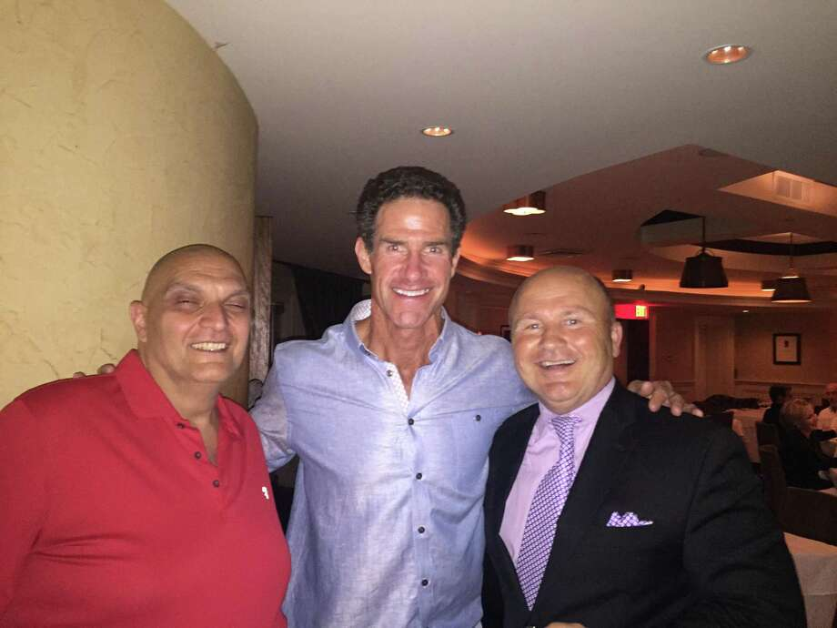 Chef Joe Giordano, former MLB great Paul O'Neill and Maitre d' and managing partner, Tony Capasso at Gabriele's Italian Steakhouse in Greenwich. Photo: Contributed