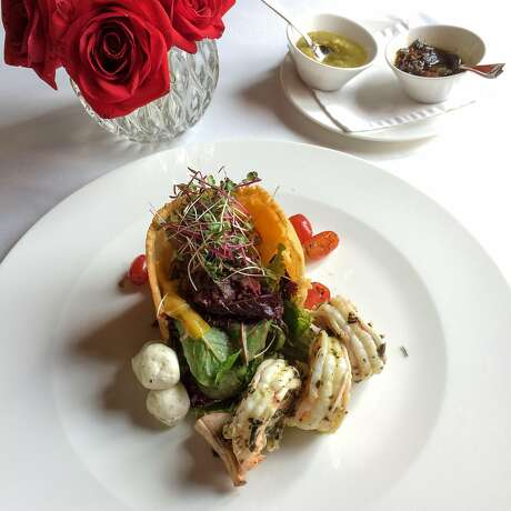 A creative take on a traditional Guatemalan shrimp dish at El Convento inn's fine dining restaurant. Photo: Margo Pfeiff, Special To The Chronicle