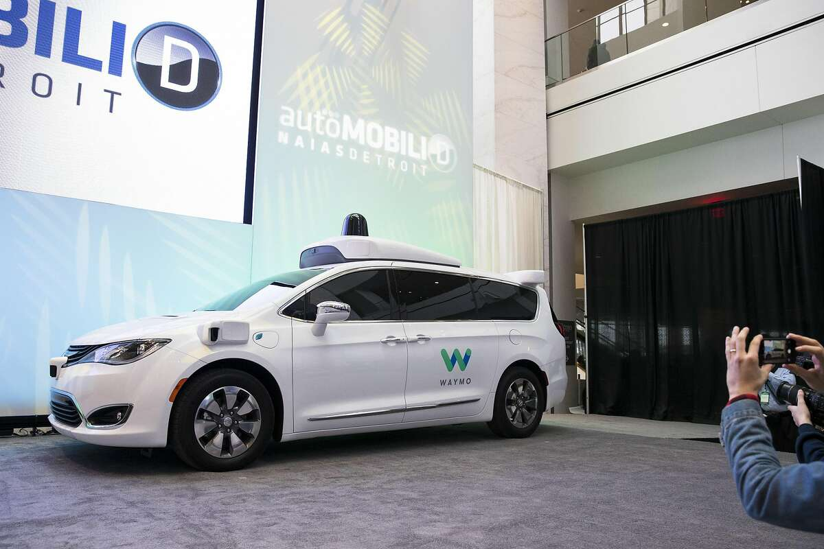 Waymo's self-driving minivan, produced by Fiat Chrysler, before a news conference in Detroit, Jan. 8, 2017.