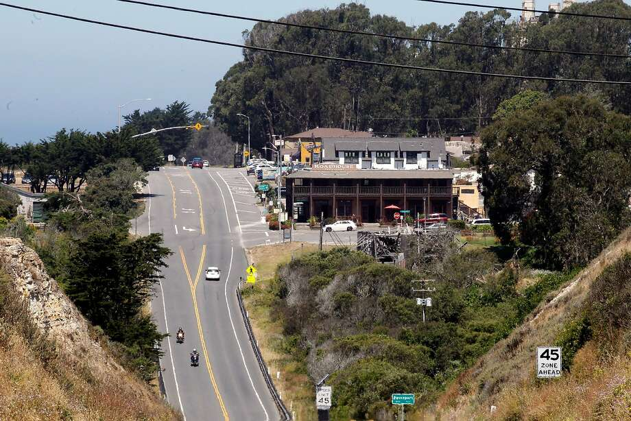 Davenport sits along Highway 1 in Santa Cruz County. The town is facing a water crisis, with its main source cut off and a backup source drying up. Photo: Michael Macor, The Chronicle