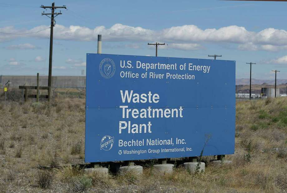 A sign for a waste treatment plant on the Hanford Nuclear Reservation is shown near Richland, Wash. (AP Photo/Ted S. Warren) Photo: Ted S. Warren, STF / Copyright 2017 The Associated Press. All rights reserved.