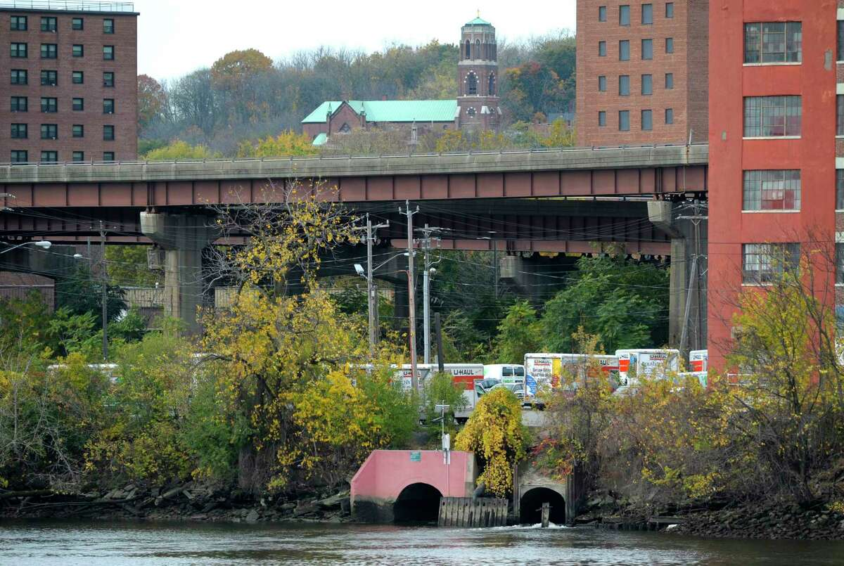 A view of the sewage discharge pipe that empties into the Hudson River on Wednesday, Oct. 23, 2013. (Paul Buckowski / Times Union archive)