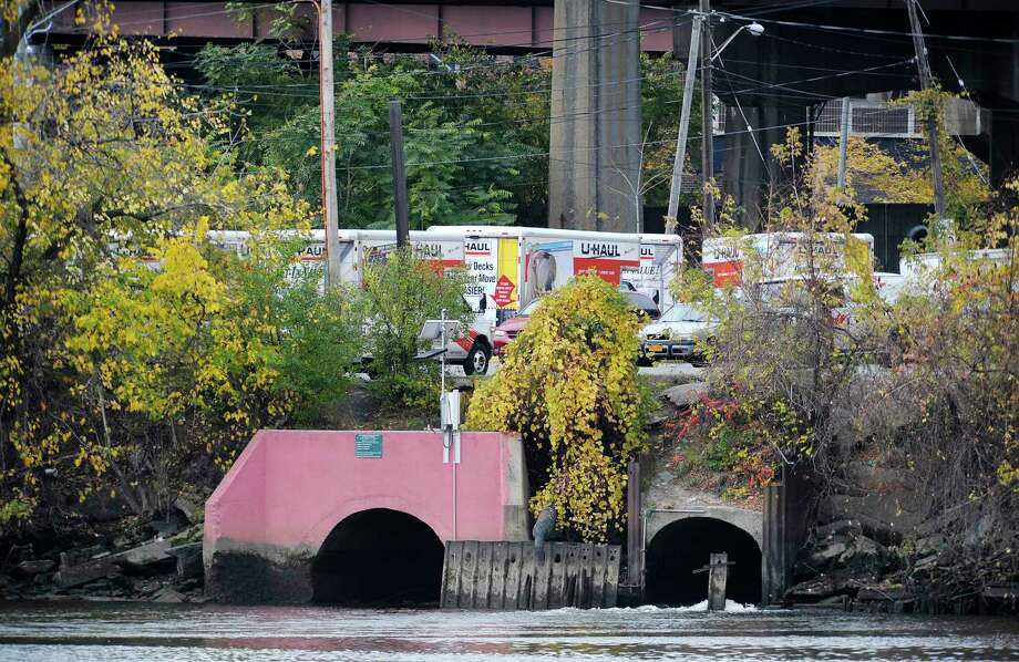 A view of the sewage discharge pipe that empties into the Hudson River in Albany.   (Paul Buckowski / Times Union archive) Photo: Paul Buckowski / 00024361A