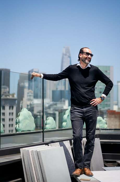 Lorenz Maurer, general manager of San Francisco Proper, stands on the hotel's roof. It will open Aug. 14. Photo: Nicole Boliaux, The Chronicle
