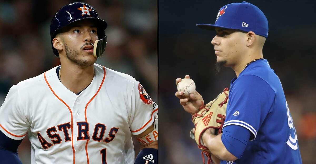 Split photo of Astros' Carlos Correa and Blue Jays' Roberto Osuna.