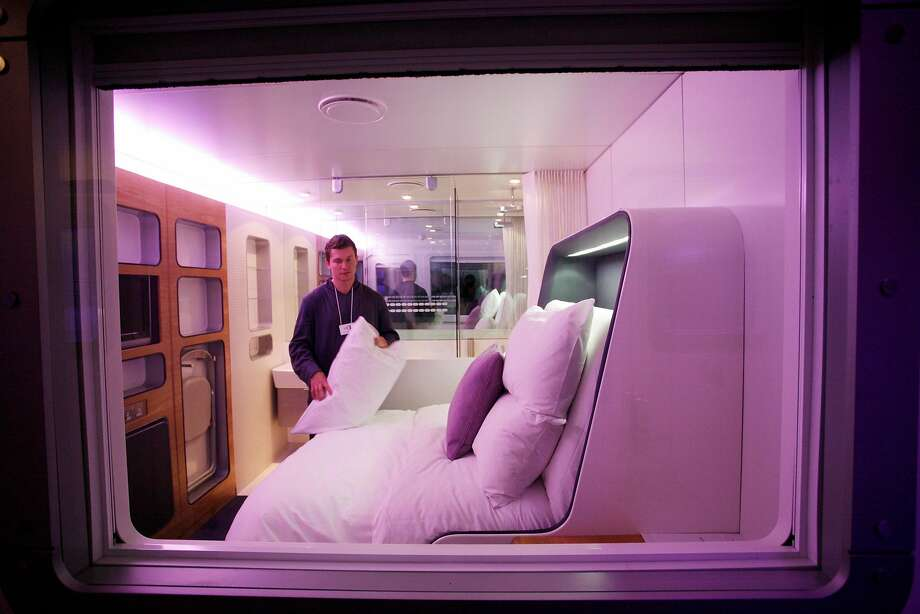 Pictured is a premium room in the Yotel at Gatwick Airport outside of London. Photo: Jonathan Player, NYT