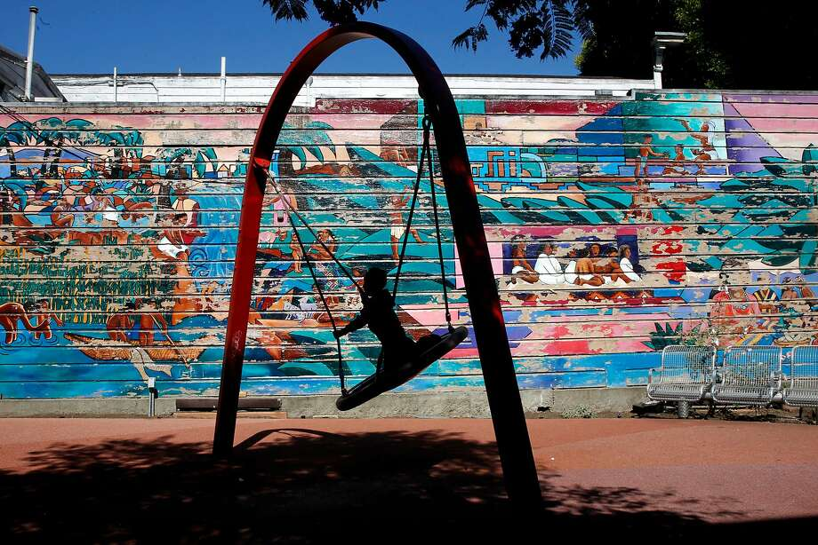 This mural at the Mission District mini park at 24th and York streets was first painted by Michael Rios, Anthony Machado and Richard Montez in 1974 and 1977 and repainted by Miranda Bergman and Susan Greene in 1991. Photo: Michael Macor, The Chronicle