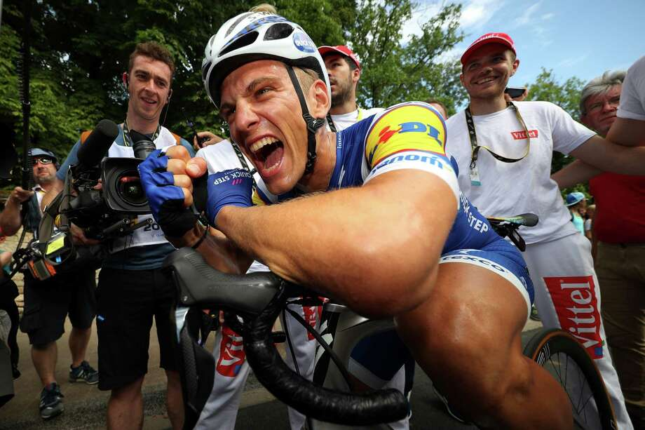 Marcel Kittel of Germany is all smiles after winning the seventh stage of the Tour de France on Friday. Photo: Chris Graythen, Staff / 2017 Getty Images