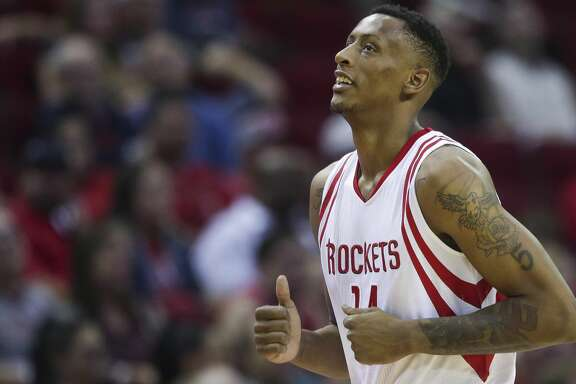Houston Rockets forward Troy Williams (14) comes out of the game as the Houston Rockets take on the Denver Nuggets at the Toyota Center Wednesday, April 5, 2017 in Houston. ( Michael Ciaglo / Houston Chronicle)