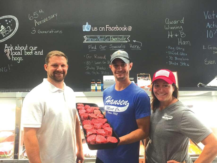 From left are Hansen Meat Co. owners Andrew Bagley, Ryan Hansen and Beth Hansen-Arrowsmith. Photo: Julia Biggs