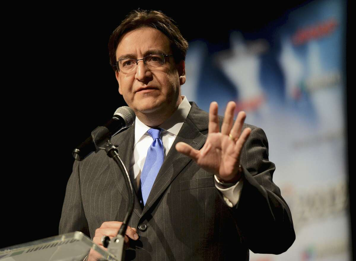 FILE - In this Sept. 25, 2012, file photo, then Texas state Rep. Pete Gallego, speaks during a debate in San Antonio, Texas. Gallego, a Democrat, faces incumbent first-term Republican Rep. Will Hurd in the 2016 November election in Texas' 23rd District, which spans 58,000-plus square miles, making it larger than 29 states. Neither Gallego nor Hurd live in the district. (John Albright/The San Antonio Express-News via AP, File)