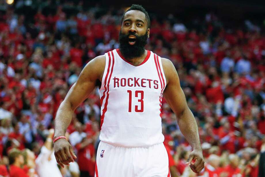 Houston Rockets guard James Harden (13) reacts as they take the lead before the Houston Rockets beat the Oklahoma City Thunder 115-111 in Game 2 of the first-round playoff series Wednesday, April 19, 2017 in Houston at the Toyota Center. ( Michael Ciaglo / Houston Chronicle) Photo: Michael Ciaglo, Staff / Michael Ciaglo