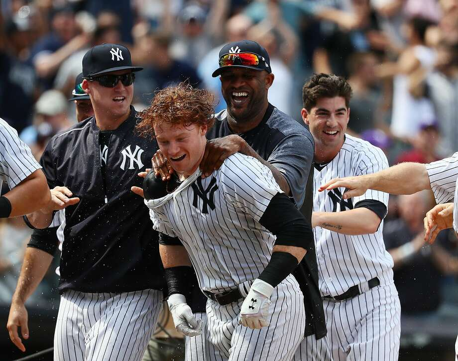 NEW YORK, NY - JULY 08:  Clint Frazier #30 of the New York Yankees celebrates a three run walk off home run in the ninth inning against the Milwaukee Brewers with a 5-3 win during their game at Yankee Stadium on July 8, 2017 in New York City.  (Photo by Al Bello/Getty Images) Photo: Al Bello, Getty Images