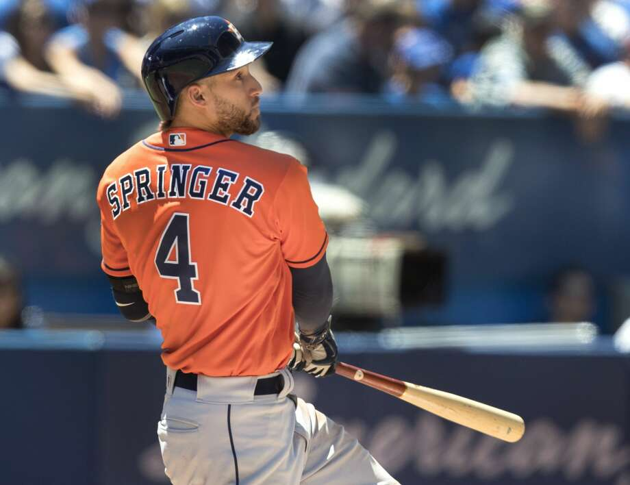 Houston Astros' slugger George Springer will soon appear in a series of ads for Texas-bred grocery chain H-E-B, the company said Tuesday.Click through to see Springer's progression over the years... Photo: Fred Thornhill/Associated Press