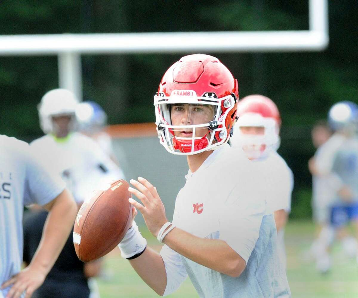 New Canaan High School quarterback Drew Pyne during the Grip It & Rip It football tournament at New Canaan High School, New Canaan, Conn., Saturday, July, 8, 2017.
