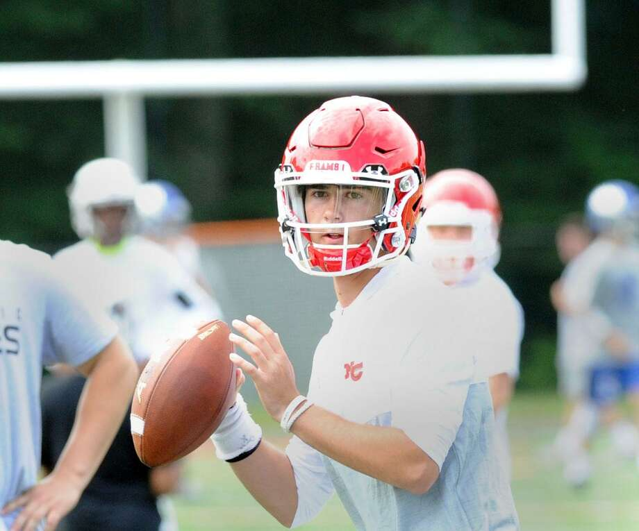 New Canaan High School quarterback Drew Pyne during the Grip It & Rip It football tournament at New Canaan High School, New Canaan, Conn., Saturday, July, 8, 2017. Photo: Bob Luckey Jr. / Hearst Connecticut Media / Greenwich Time