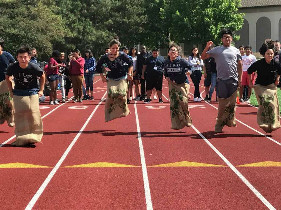 Students from Houston's EMERGE Fellowship compete in a potato sack race at Union College in Schenectady, N.Y. / Houston Chronicle