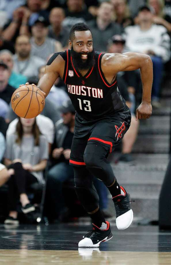 "James Harden's 6-year, $228 million contract extension will keep him with the Rockets through the 2022-23 season. ""Houston is home for me,"" said Harden, who was born in Los Angeles. Photo: Karen Warren, Staff Photographer / Stratford Booster Club"