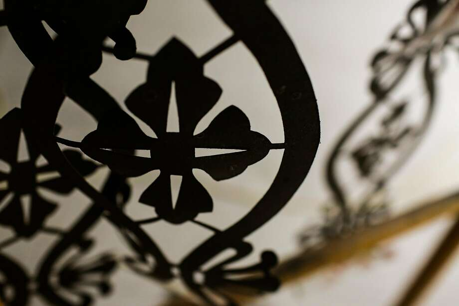 A stencil that conservationist Beate Bruhl used on the historic 45-foot high ceiling of the Mining Exchange building is seen on her painting cart. Photo: Gabrielle Lurie, The Chronicle
