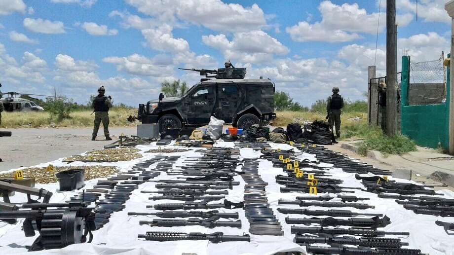This photo shows the arsenal that was seized by SEDENA in northwest Nuevo Laredo, Mexico.  Photo: Courtesy Photos