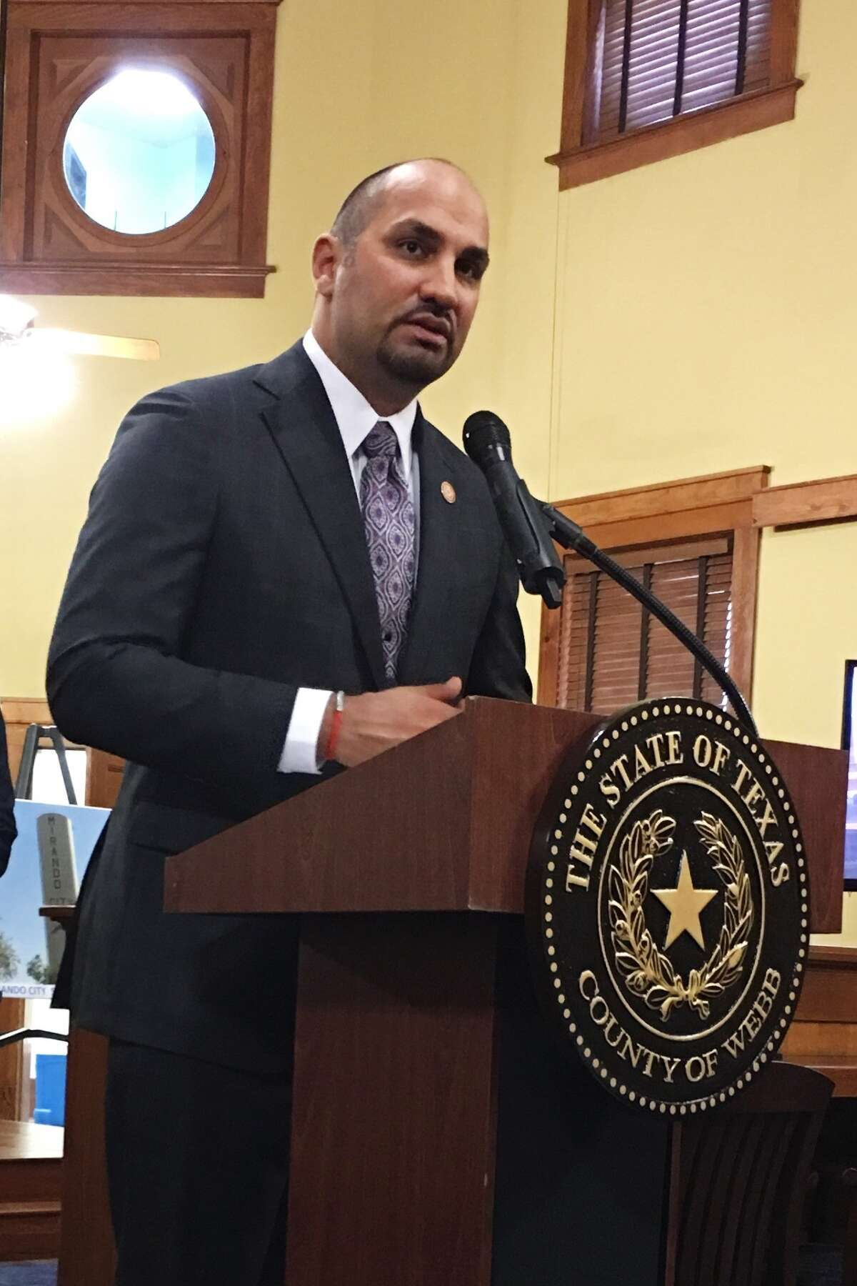 Webb County Judge Tano Tijerina announces details of a $500,000 grant for water supply improvements during a press conference at the Webb County Courthouse.