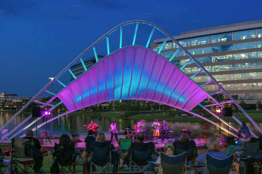 The free live music series, Rock the Row presented by Strike, takes place Thursday evenings, July 13 through Aug.17, from 7-9 p.m., at Restaurant Row, located along the scenic waterfront of Lake Woodlands in Hughes Landing. Photo: Submitted / Ted Washington