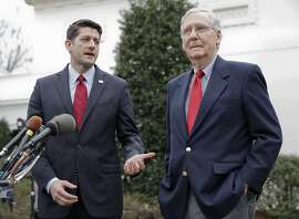 FILE - In this Feb. 27, 2017 file photo, House Speaker Paul Ryan of Wis., and Senate Majority Leader Mitch McConnell of Ky. meet with reporters outside the White House in Washington. Congress is still trying to send President Donald Trump his first unqualified legislative triumph, nearly six months after Republicans grabbed full control of Washington. Now, lawmakers are returning from their July 4 recess with an added objective _ averting some full-blown political disasters.  (AP Photo/Pablo Martinez Monsivais, File)
