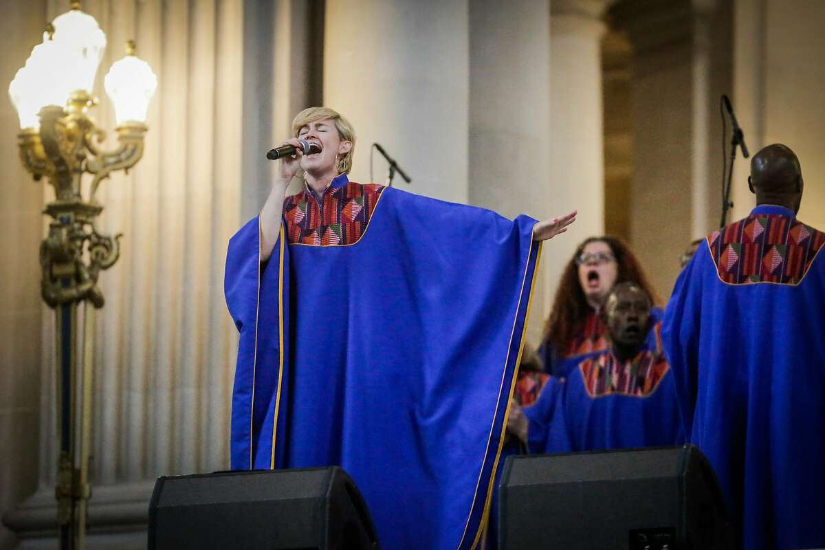 The Glide Church choir performs during a memorial service for three victims who were killed in a shooting at a UPS facility in Potrero Hill last month in San Francisco, California, on Sunday, July 9, 2017.