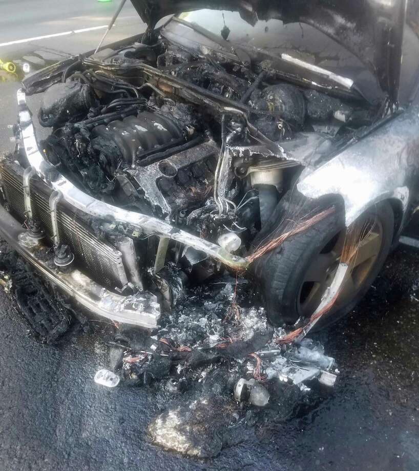 This is what the front of a car looked like after a vehicle fire on I-95 in Westport on Sunday, July 9, 2017. No one was injured in the three-vehicle accident. Photo: Westport Fire Department Photo
