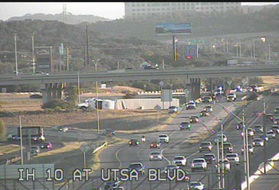 The I-10 East exit ramp to Loop 1604 East is closed due to an overturned 18-wheeler on Monday, July 10, 2017. Photo: TxDOT