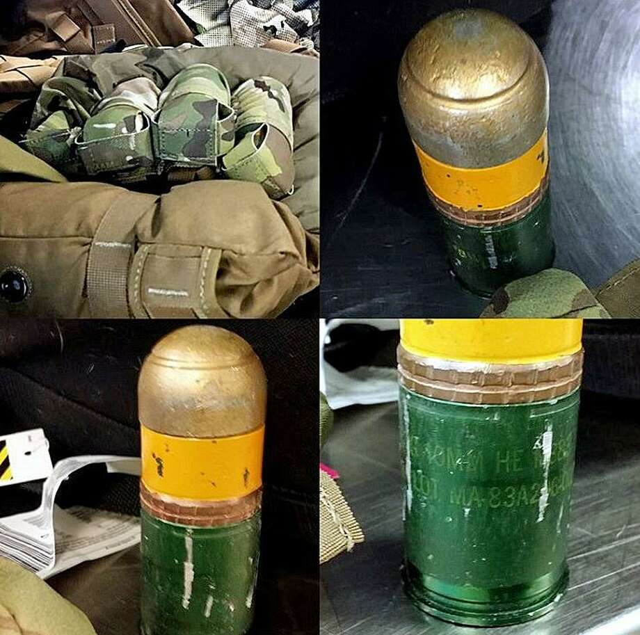 At the Birmingham, Alabama airport, Transportation Security Administration officers discovered four 40mm grenades in a tactical vest inside a checked bag. A TSA explosives specialist was called to scene and thankfully cleared the items as inert. In this case, only the baggage screening area was evacuated resulting in a 10-minute halt on baggage screening locations. Photo: TSA